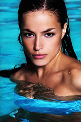 tanned woman in water