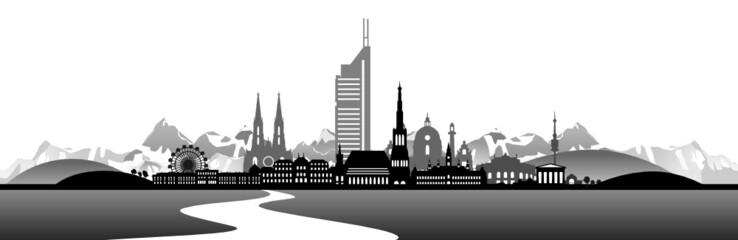 Wien Skyline mit Landschaft