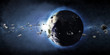 Earth Planet with Rising Sun and Asteroid Belt