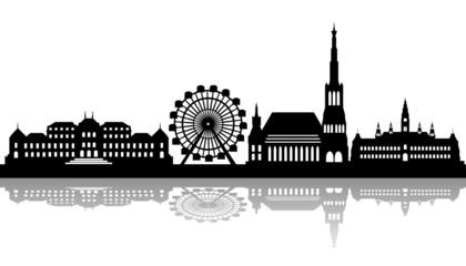 Wien Skyline mit Wahrzeichen - Schatten