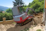 Fototapety small excavator provides garden at the house