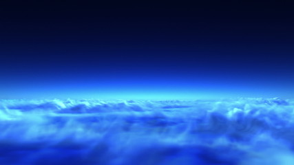 night flight over clouds, loop-able 3d animation