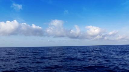 saling in deep wavy blue mediterranean sea