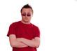 Mann mit Sonnebrille und arroganten Blick