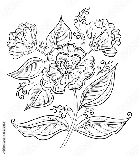 Abstract flower, outline