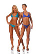 Two muscular females on white background