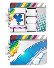 Banner with film frames, camera and stars