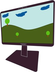the switched-on monitor of the computer