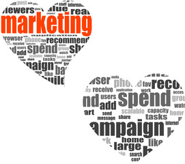 marketing. Word collage set in heart shape