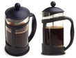 French press coffee maker on white background. In two scenes.