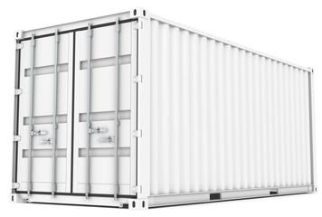 White Cargo Container, metal locking and black sealing.
