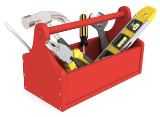 Toolbox. Toolbox of wood painted red. Miscellaneous Tools.