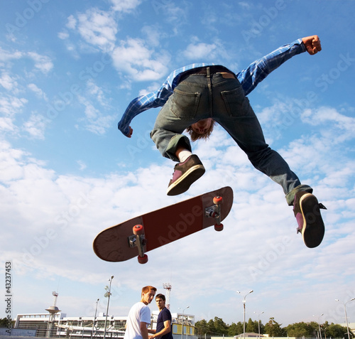 Skater jumps high in air
