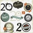 20 years anniversary signs and cards vector design