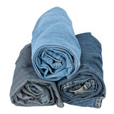 Stack of rolled jeans