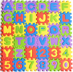 colorful letters numbers toys abstract background