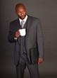 Young Black Business Man with coffee mug