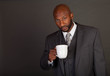 Young Black Business Man with coffee