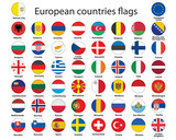 set of round buttons with flags of Europe vector illustration