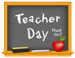 Teacher Day, blackboard, apple, chalk, eraser, Thank you!