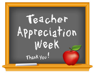 Teacher Appreciation Week, chalk, blackboard, apple, Thank you!