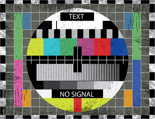 tv color test screen on grunge background - illustration