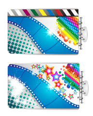 Banner with film frames and stars