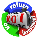 ROI Return on Investment Slot Machine Words Acronym poster