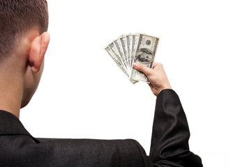 dollars in the hands of a businessman