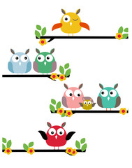 Set different funny birds on a limb