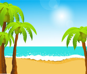 Perfect tropical white sand beach with palm trees, vector