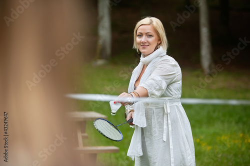Beautiful Woman Playing Badminton