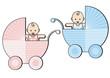 zwei Babys im Kinderwagen