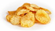 Potato chips are rotating on a white background
