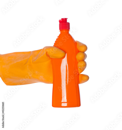 detergent bottle in hand isolated on white