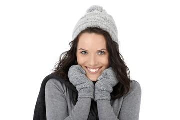 Winter portrait of happy woman