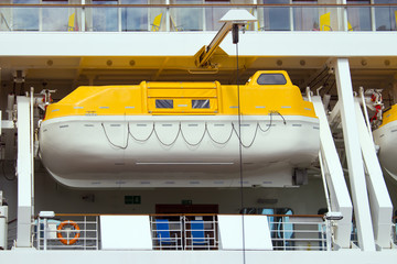 Single lifeboat on a cruise liner