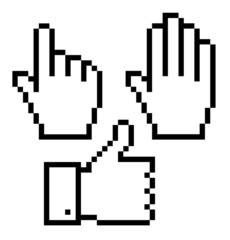 Set of pixelated hand icons, vector