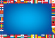 blue background with frame made of European countries flags