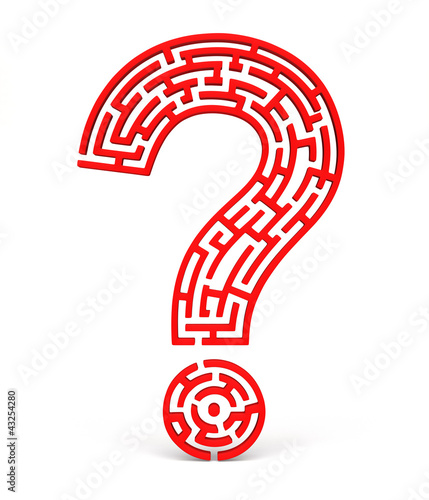 white partial puzzle question mark on red background(front view)
