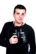 Man with binoculars