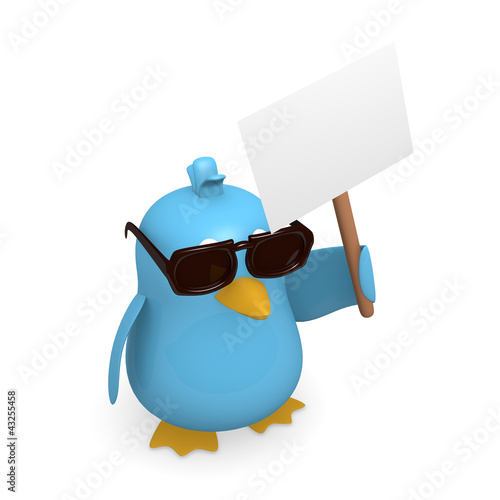 Blue bird with sunglasses and a blank sign