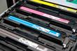 Leinwandbild Motiv Cartridges of color laser multifunction printer