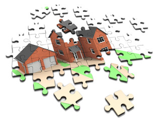 3d Jigsaw puzzle house building