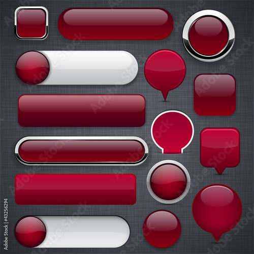 Wine red high-detailed modern buttons.