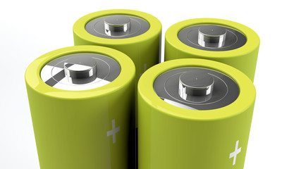 close-up of four batteries