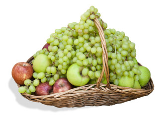 basket with grapes and apples