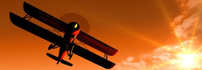 historische Flugzeuge: Panoramabild Doppeldecker