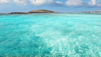 beach of Illetes with turquoise water in Formentera near Ibiza