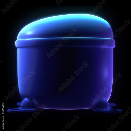 a rice cooker machine concept isolated on black background